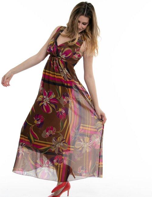 Vestito Vougue lungo con scollo incrociato - Marrone