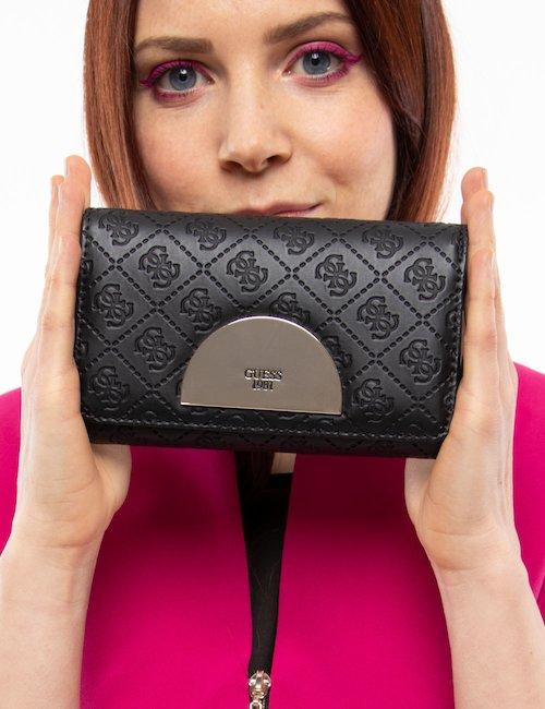Portafoglio Guess con logo  all-over - Black_Turquoise