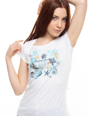 T-shirt Yes Zee con grafica e strass