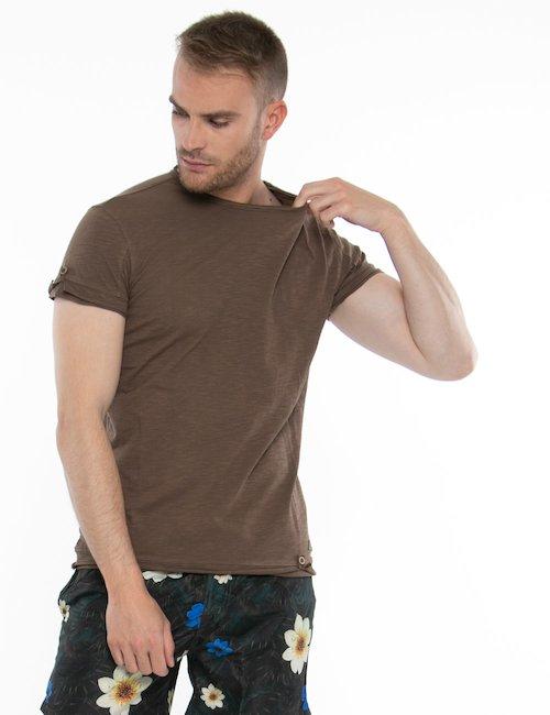 T-shirt Yes Zee con tagli al vivo - Marrone