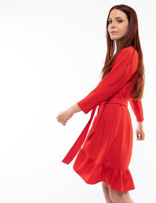 Vestito corto Vougue con volant - Rosso