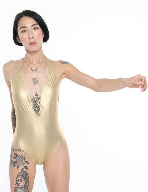 Costume Sundek intero schiena scoperta - Oro