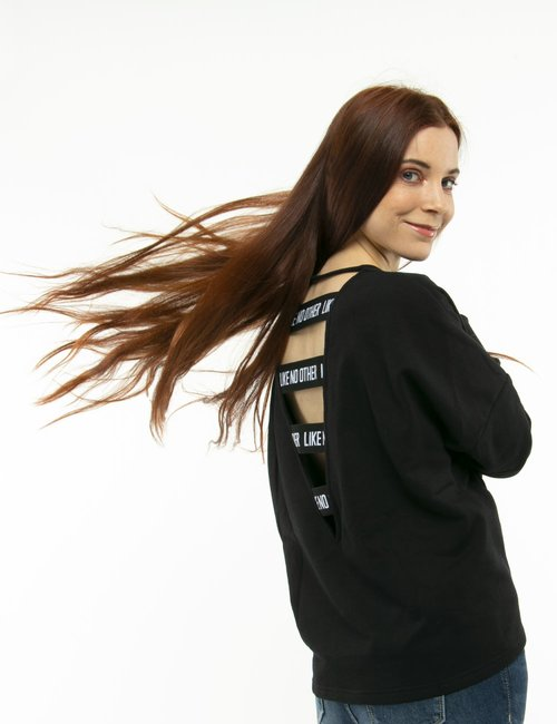 Felpa Kappa con maxi logo - Nero
