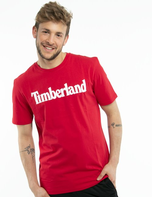T-shirt Timberland con logo stampato - Rosso