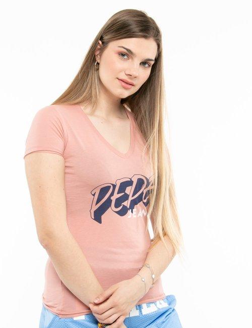 T-shirt Pepe Jeans scollo a V - Rosa