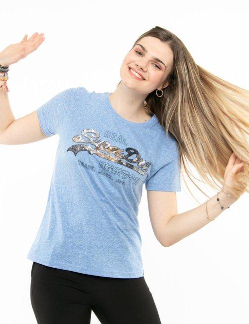 T-shirt Superdry con paillettes - Azzurro