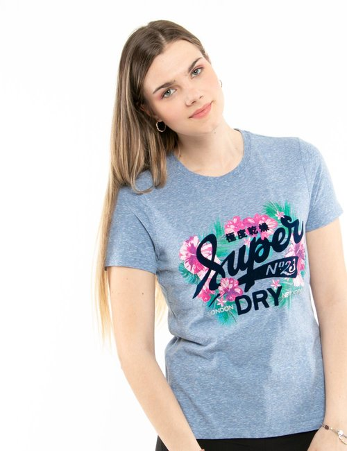 T-shirt Superdry floreale - Azzurro