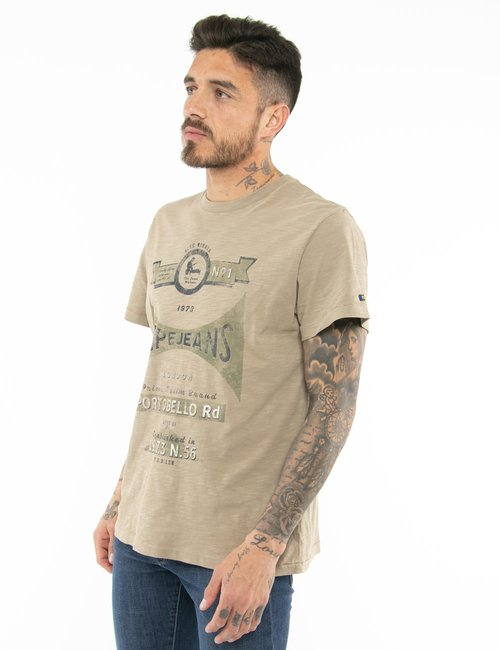 T-shirt Pepe Jeans con stampa vintage - Marrone