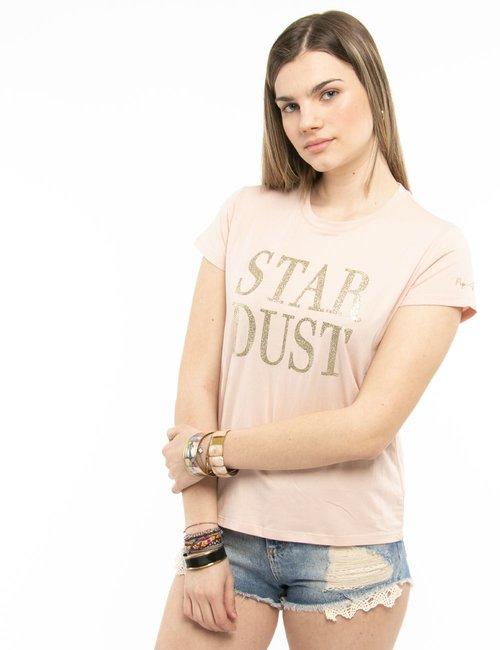 T-shirt Pepe Jeans con scritta brillantinata - Rosa