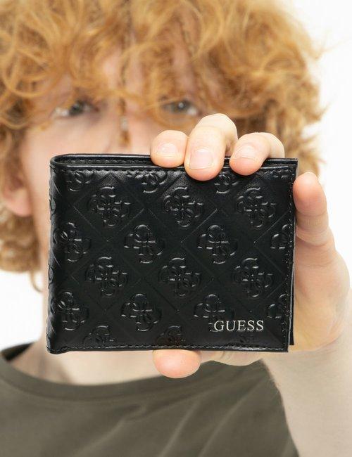 Portafoglio Guess compatto con logo in rilievo - Nero