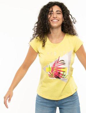 T-shirt Yes Zee con stampa e scritta glitterata