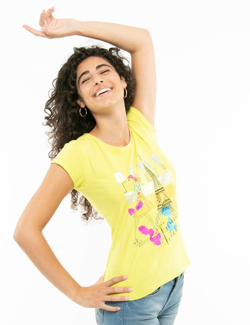 T-shirt Yes Zee con stampa colorata - Giallo