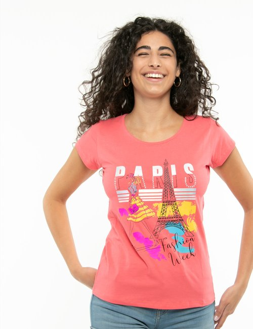 T-shirt Yes Zee con stampa colorata - Rosa