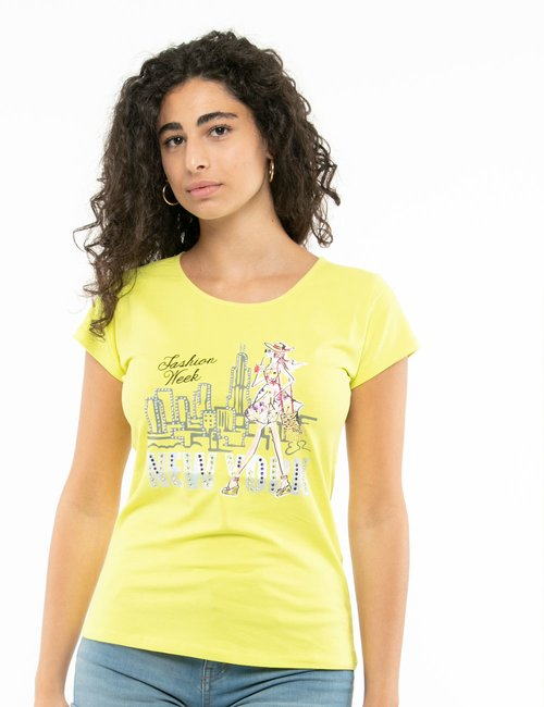 T-shirt Yes Zee stampa con strass - Giallo