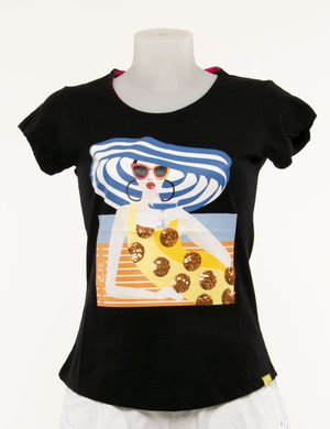 T-shirt Yes Zee con stampa e paillettes
