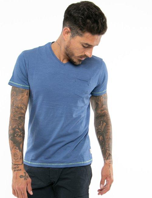 T-shirt Yes Zee con taschino e scollo a V - Blu