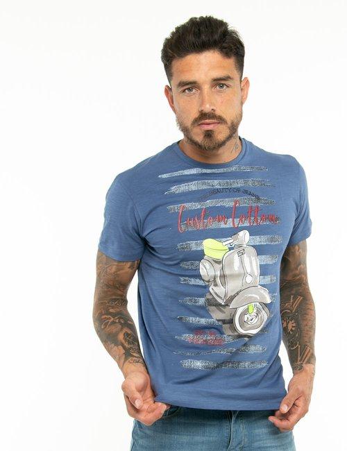 T-shirt Yes Zee con scritte in rilievo - Blu