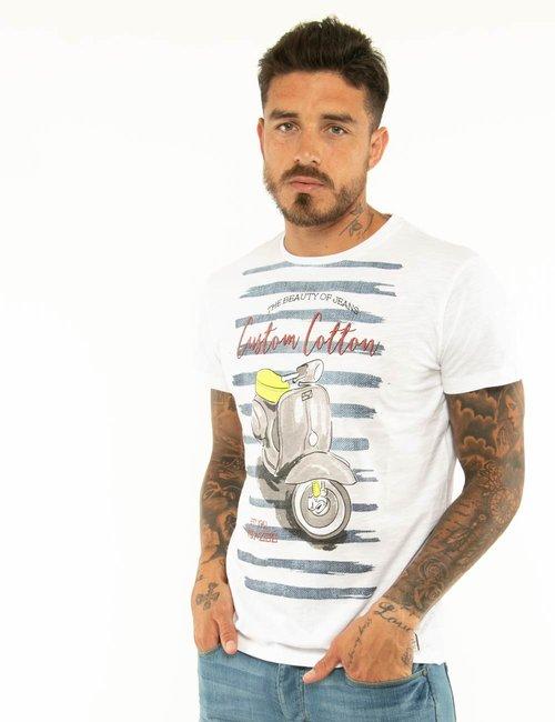 T-shirt Yes Zee con scritte in rilievo - Bianco