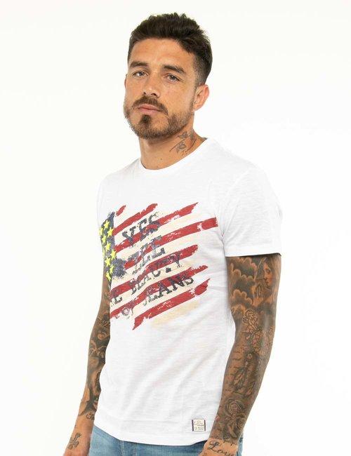 T-shirt Yes Zee con stelle in rilievo - Bianco