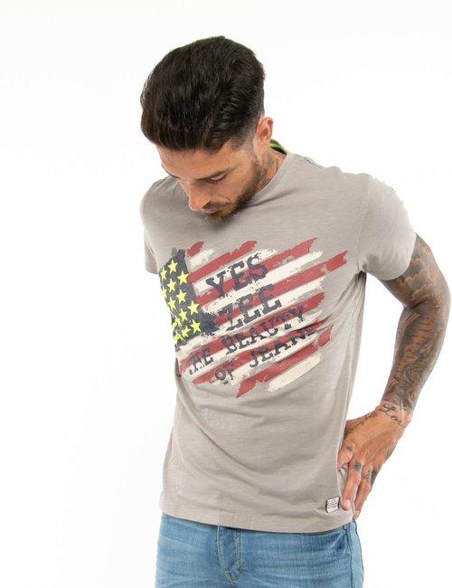 T-shirt Yes Zee con stelle in rilievo - Grigio