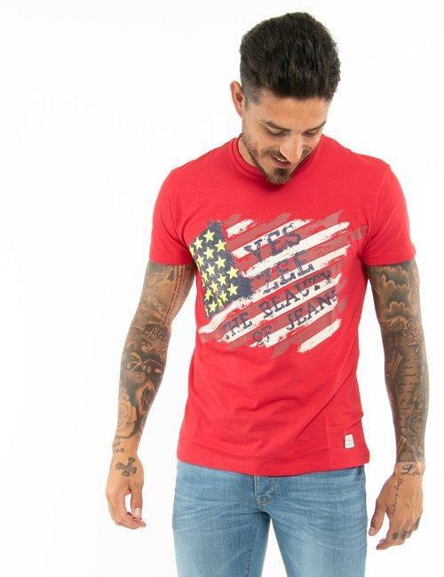 T-shirt Yes Zee con stelle in rilievo - Rosso