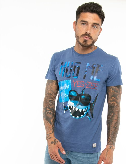 T-shirt Yes Zee con stampa - Blu
