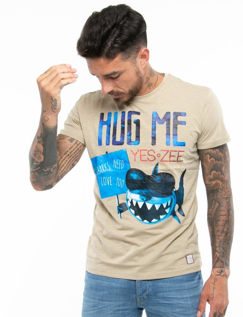 T-shirt Yes Zee con stampa - Beige