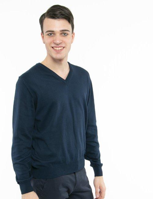 Pullover Nick Logan scollo a V - Blu