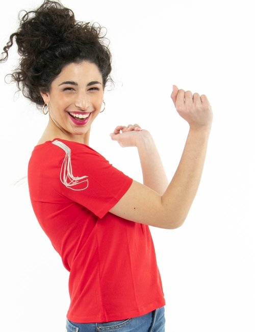 T-shirt Guess con applicazioni - Rosso