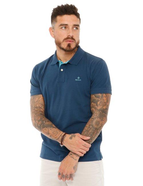 Polo Gant con logo a contrasto - Blu