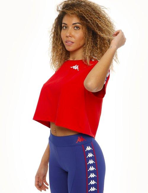 T-shirt Kappa con scritta posteriore ricamata - Rosso