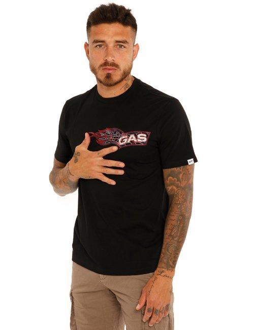 T-shirt Gas logo con fiamma - Nero