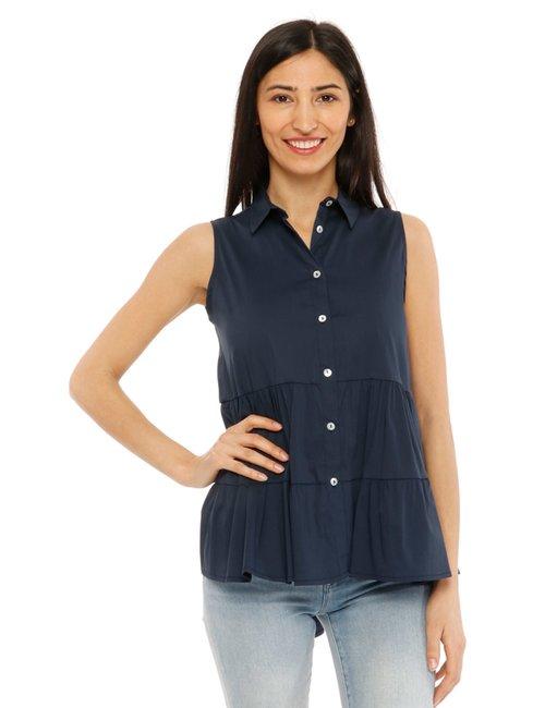 Camicia Vougue smanicata - Blu