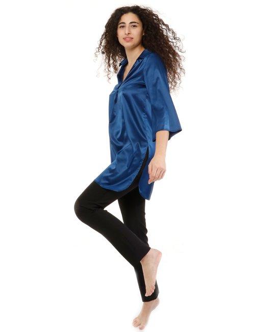 Camicia Vougue effetto raso - Blu