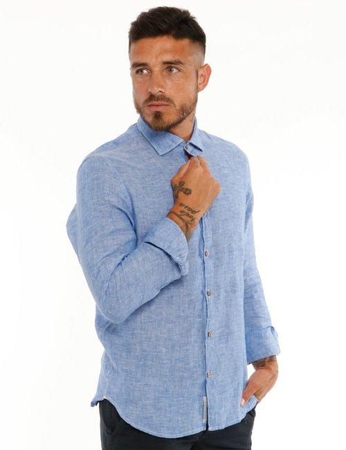 Camicia Yes Zee in lino - Azzurro