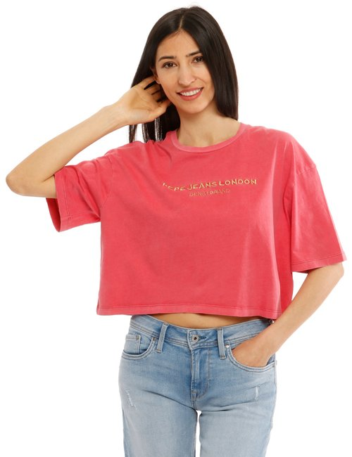 T-shirt Pepe Jeans con scritta ricamata - Rosa