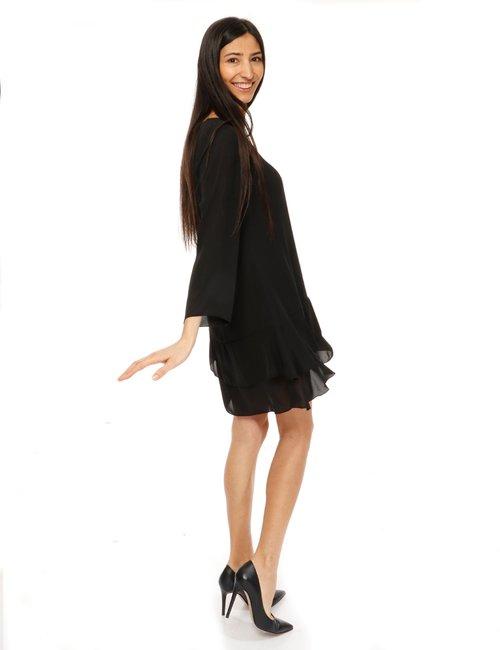 Vestito Vougue con balze - Nero