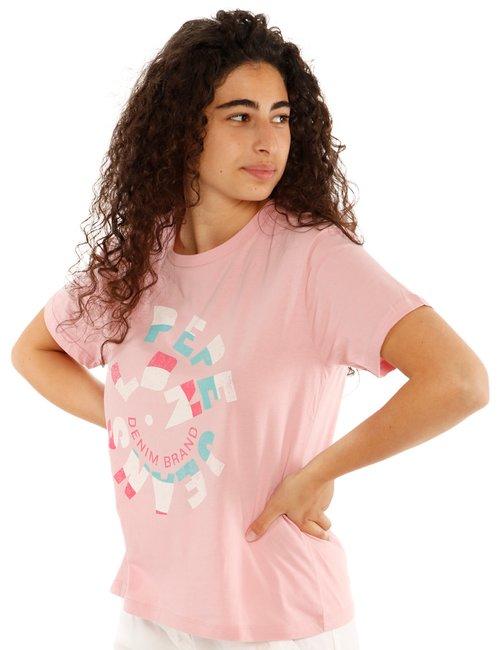 T-shirt Pepe Jeans con stampa circolare - Rosa
