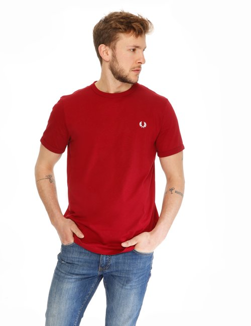 T-shirt Fred Perry con logo ricamato - Rosso