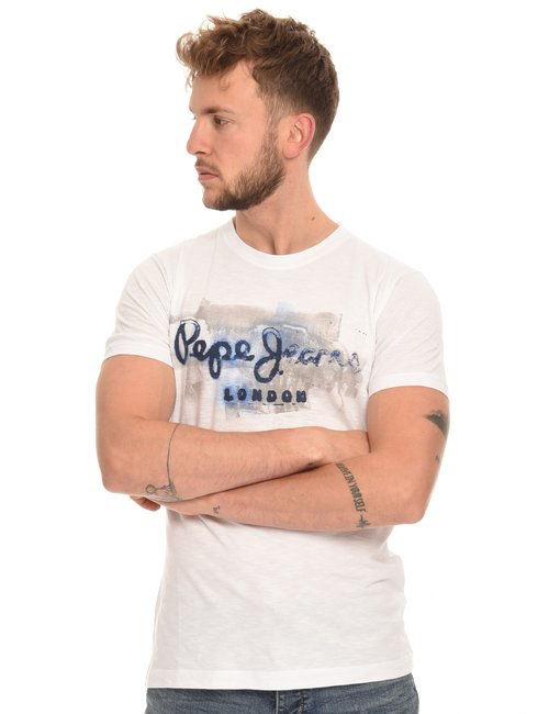 T-shirt Pepe Jeans con stampa vintage - Bianco