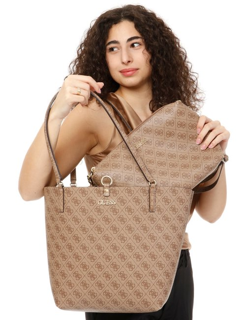 Borsa Guess logo all over - Marrone
