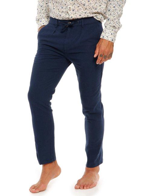 Pantalone Yes Zee in lino e cotone - Blu
