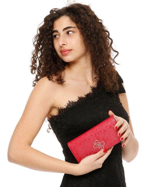 Portafoglio Guess con logo colorato in rilievo - Rosso