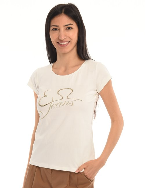 T-shirt Yes Zee con strass - Bianco