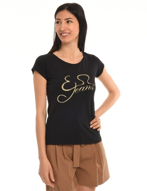 T-shirt Yes Zee con strass - Nero