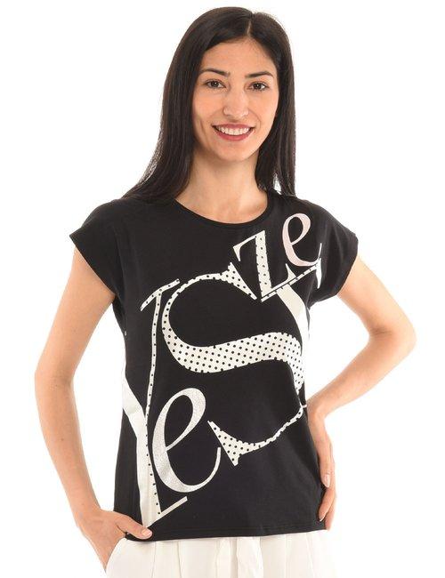 T-shirt Yes Zee con lettere - Nero