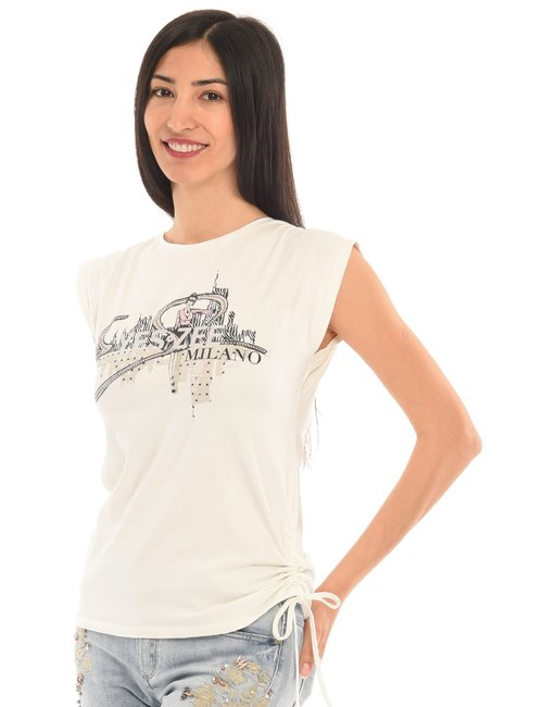 T-shirt Yes Zee stampata - Bianco