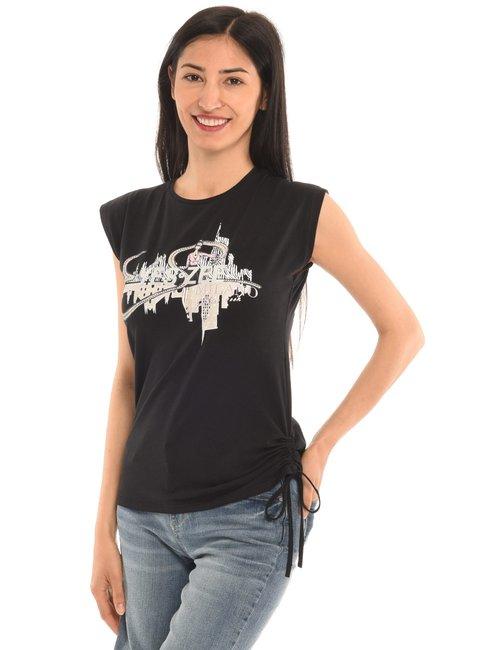 T-shirt Yes Zee stampata - Nero