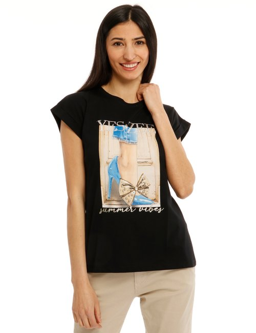T-shirt Yes Zee con stampa e strass - Nero