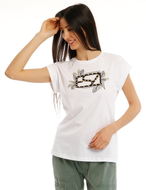 T-shirt Yes Zee con applicazioni - Bianco